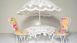 Столик под зонтиком и стулья (кукольная миниатюра).(В этом видео я показываю как я делаю столик под зонтом и стулья (кукольная миниатюра). Для стульев я использ..., 2015-09-29T11:54:54.000Z)
