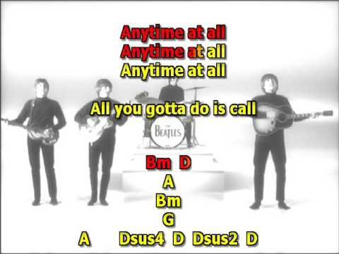 Any time at all Beatles best karaoke instrumental lyrics chords