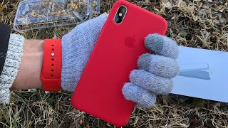 (PRODUCT) RED Apple iPhone X Silicone Case