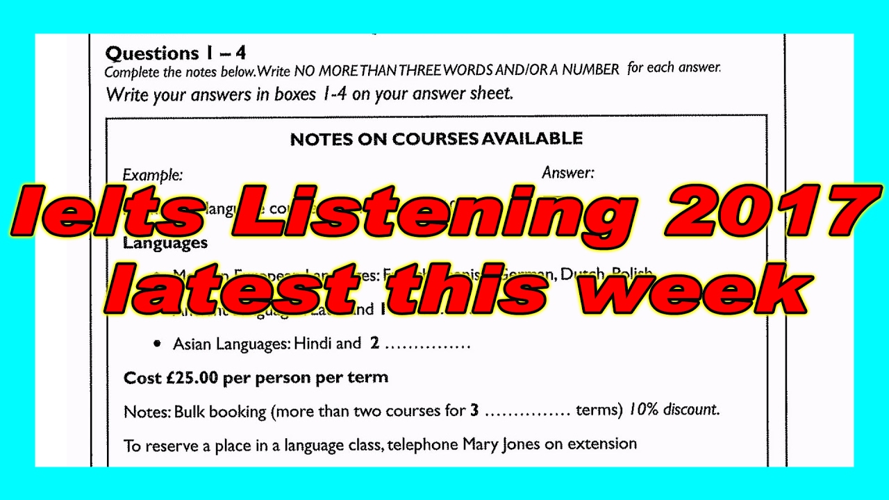 ielts listening practice test 2017 with answers - YouTube