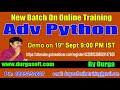 Advanced Python Online Training On 19th Sept @ 9:00 PM IST by Durga Sir