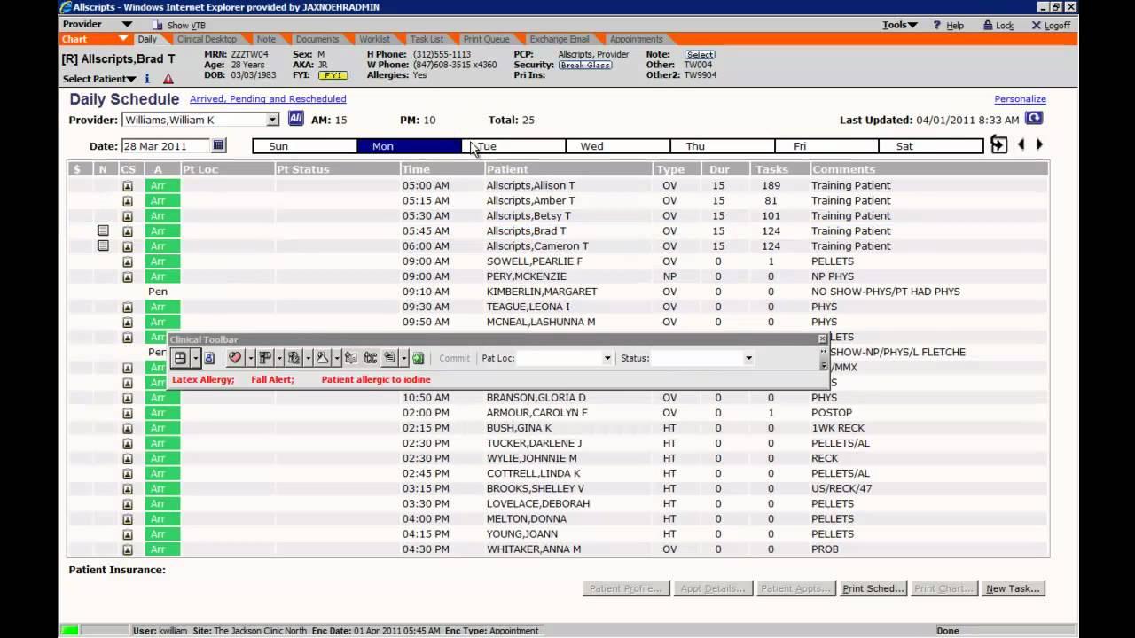 allscripts training - daily schedule
