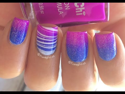 Gradient Amp Water Marble Nail Art Tutorial Youtube