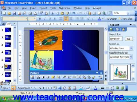 PowerPoint 2003 Tutorial Moving Clip Art Microsoft Training Lesson ...