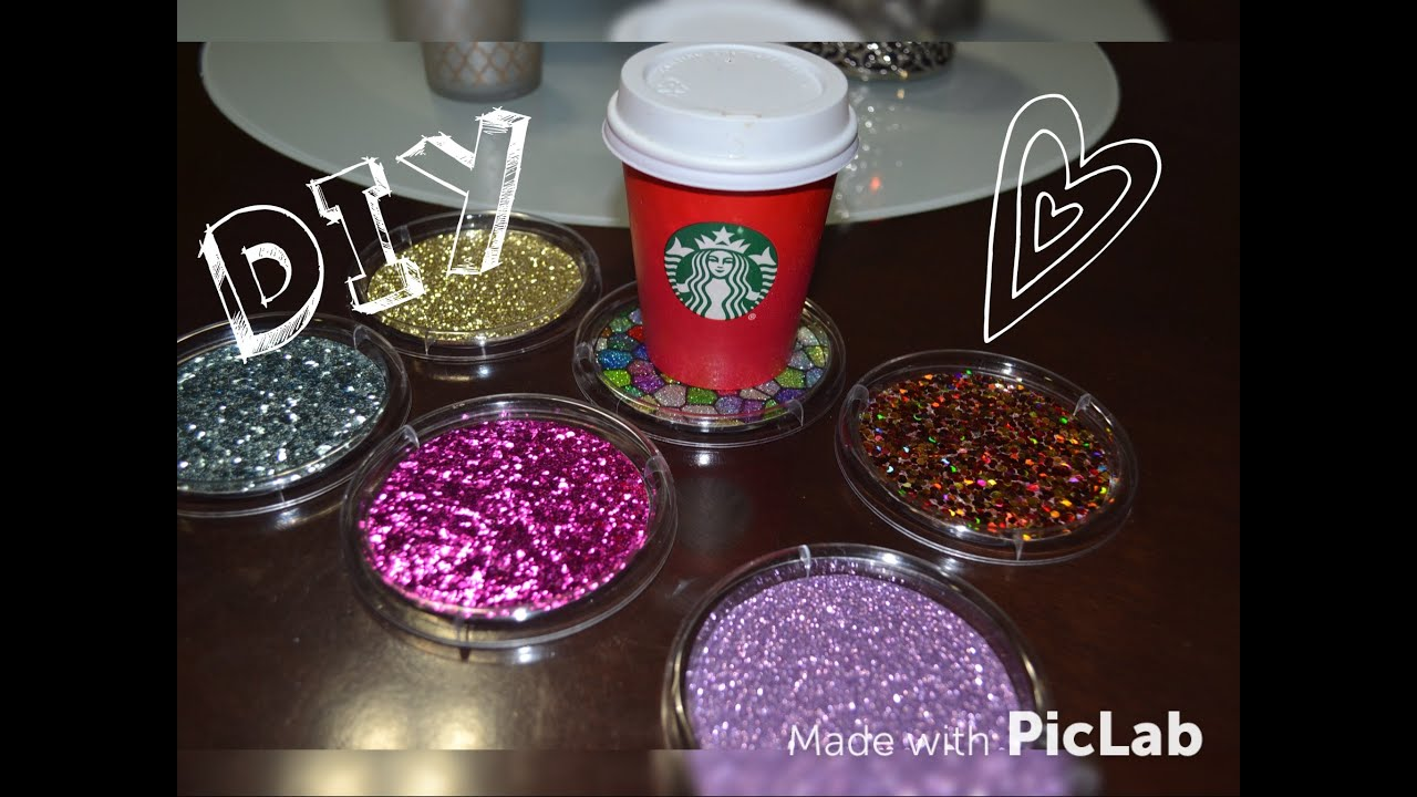 Dollar tree diy cute glitter drink coasters inexpensive for Drink coaster ideas