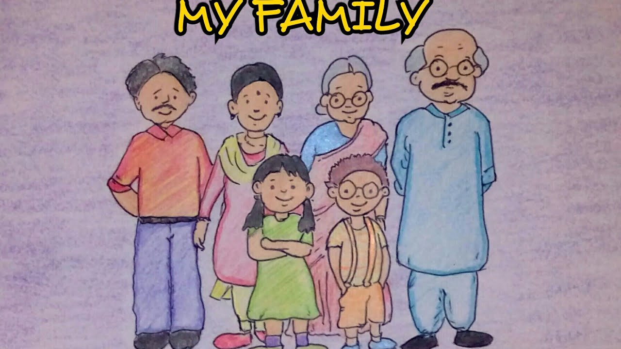 Drawing Tutorial Drawing On My Family Step By Step Easy Drawing Creative Ideas Youtube