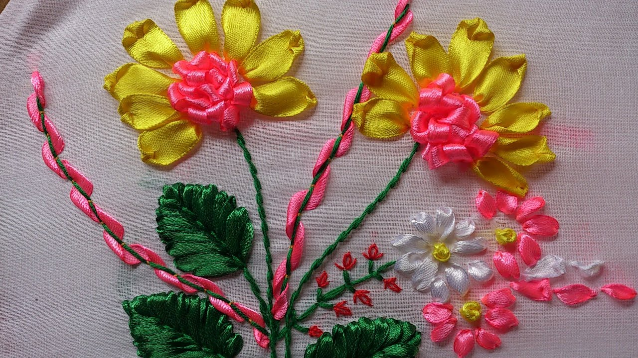 Ribbon work bed sheets designs - Hand Embroidery Designs Hand Embroidery Stitches Tutorial Ribbon Embroidery Youtube