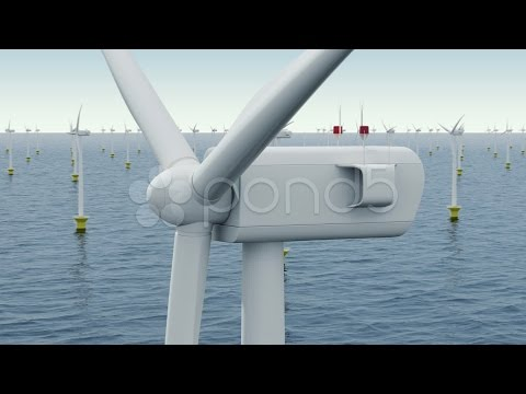 Offshore Wind Farm. Stock Footage