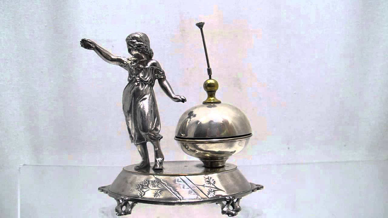 Antique Meridian Silver Plate Figural Hotel Desk Bell - Antique Meridian Silver Plate Figural Hotel Desk Bell - YouTube
