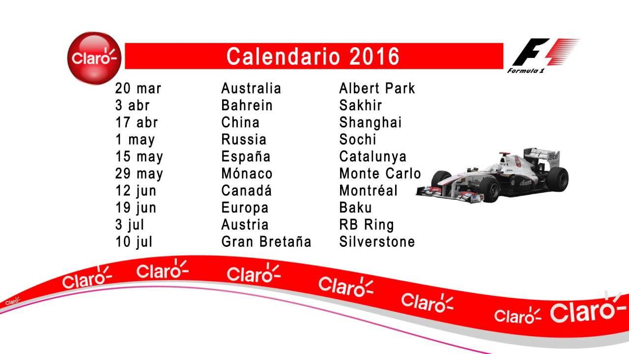 Formula 1 Calendario.Calendario Claro F1 2016 1