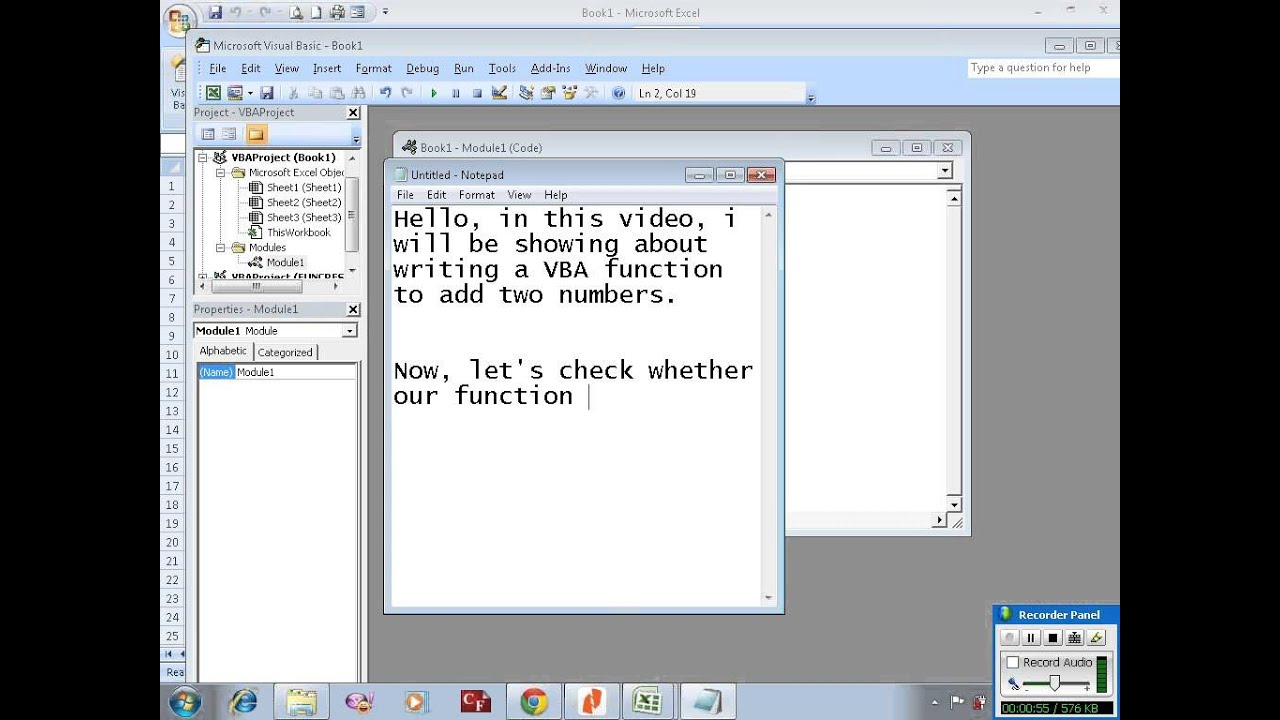 Excel VBA example 2: writing a function to add two number - YouTube