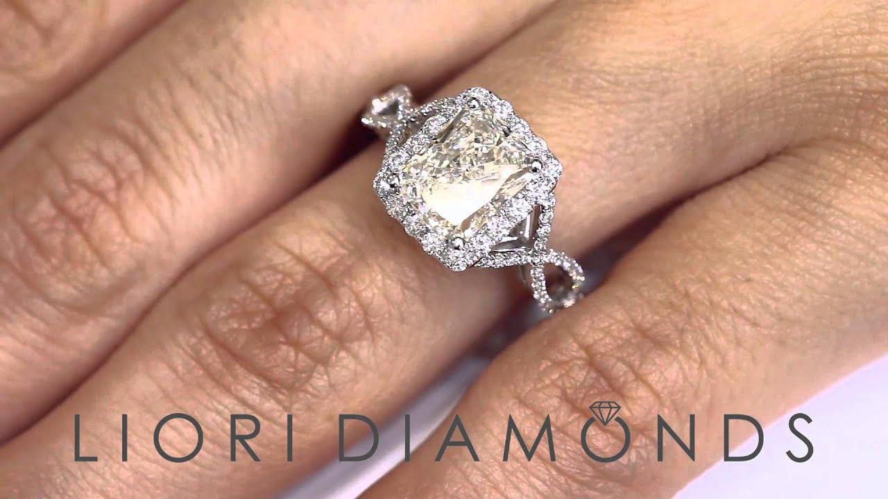 ER 0261 3 18 Carat I VS1 Radiant Cut Diamond Engagement Ring