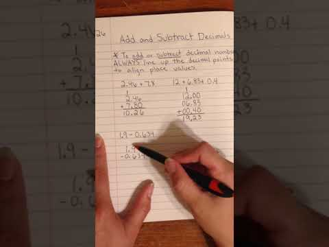 Add and Subtract Decimal Notes