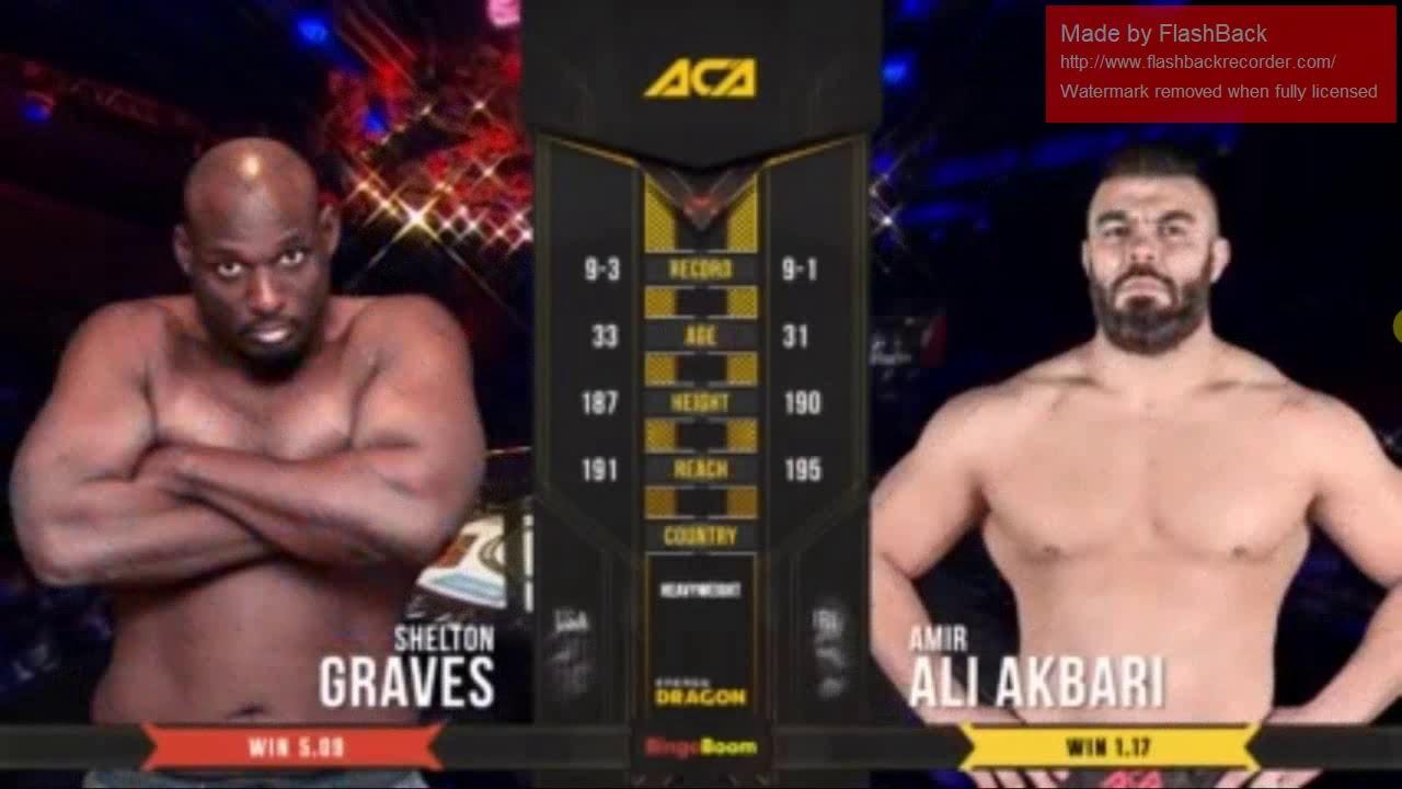 AliAkbari vs Shelton Graves Full Fight  مبارزه کامل امیر علی اکبری شیرمرد ایران در مقابل شلتون گریو