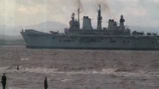 Royal Navy aircraft carrier HMS Illustrious in the River...