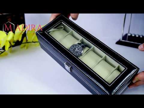 Cutie pentru ceasuri   cu 6 spatii din piele ecologica