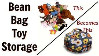 Stuffed Animal Storage Bean Bag Chair for Kids - Review & Demo!