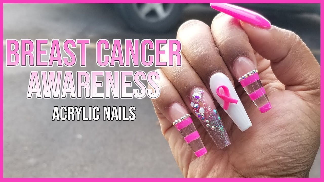 T Cancer Awareness Inspired Acrylic Nails Madam Glam Join Pink Longhairprettynails
