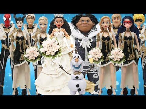 Thumbnail: Play Doh Moana Maui Spiderman Ladybug Cat Noir Elsa Anna Frozen Wedding Dress
