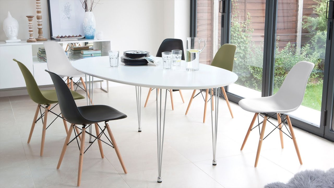 white extending dining table and eames style dining chairs youtube