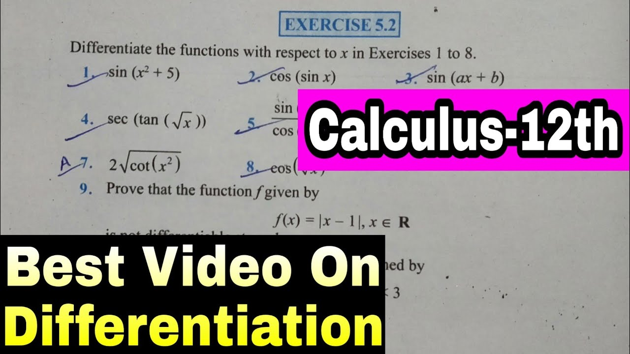 (Calculus) -Differentiation - Continuity & Differentiability Ex-5.2 Ch-5-12th Maths Best Video P-5