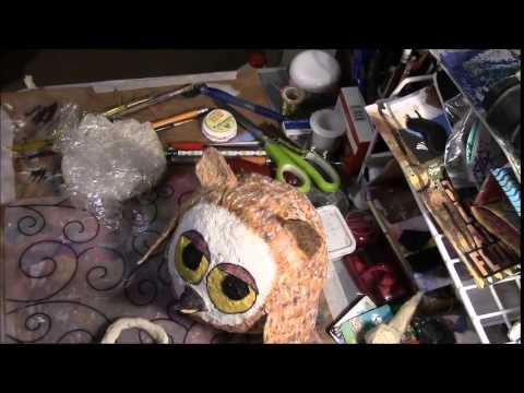 paper mache owl prt 3