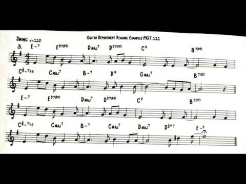 Berklee College of Music Fall 2015 Ex 3 Swing Sight Reading Guitar 1 Exam 110 bpm Video 62