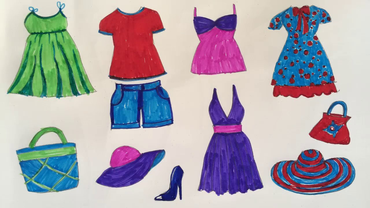 How to draw fashion clothes for kids | How to draw dresses ...