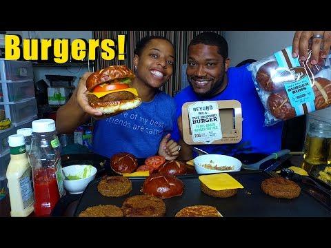 VEGAN BURGERS & FRIES MUKBANG | Eating Show