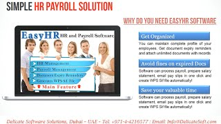Easyhr is a complete hr & payroll software which provides your company an easy solution to maintain employee profiles, preparation and wps file with ...