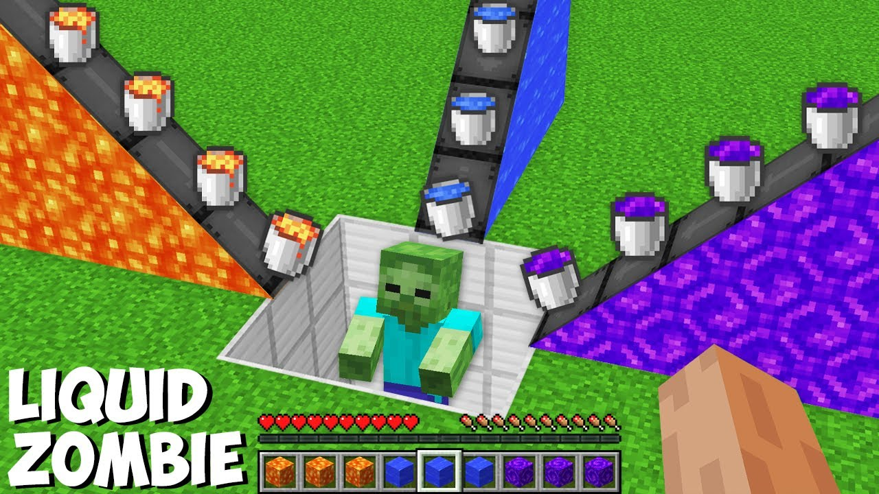 What if YOU MIX ALL LIQUIDS WITH ZOMBIE in Minecraft ? LAVA OR WATER OR PORTAL ZOMBIE ?