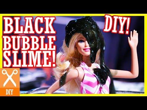 DIY SPOOKY BLACK BUBBLY SLIME! NO BORAX! | ATTACKS BARBIE, SHOPKINS & EVIL JOKER!   |  KITTIESMAMA