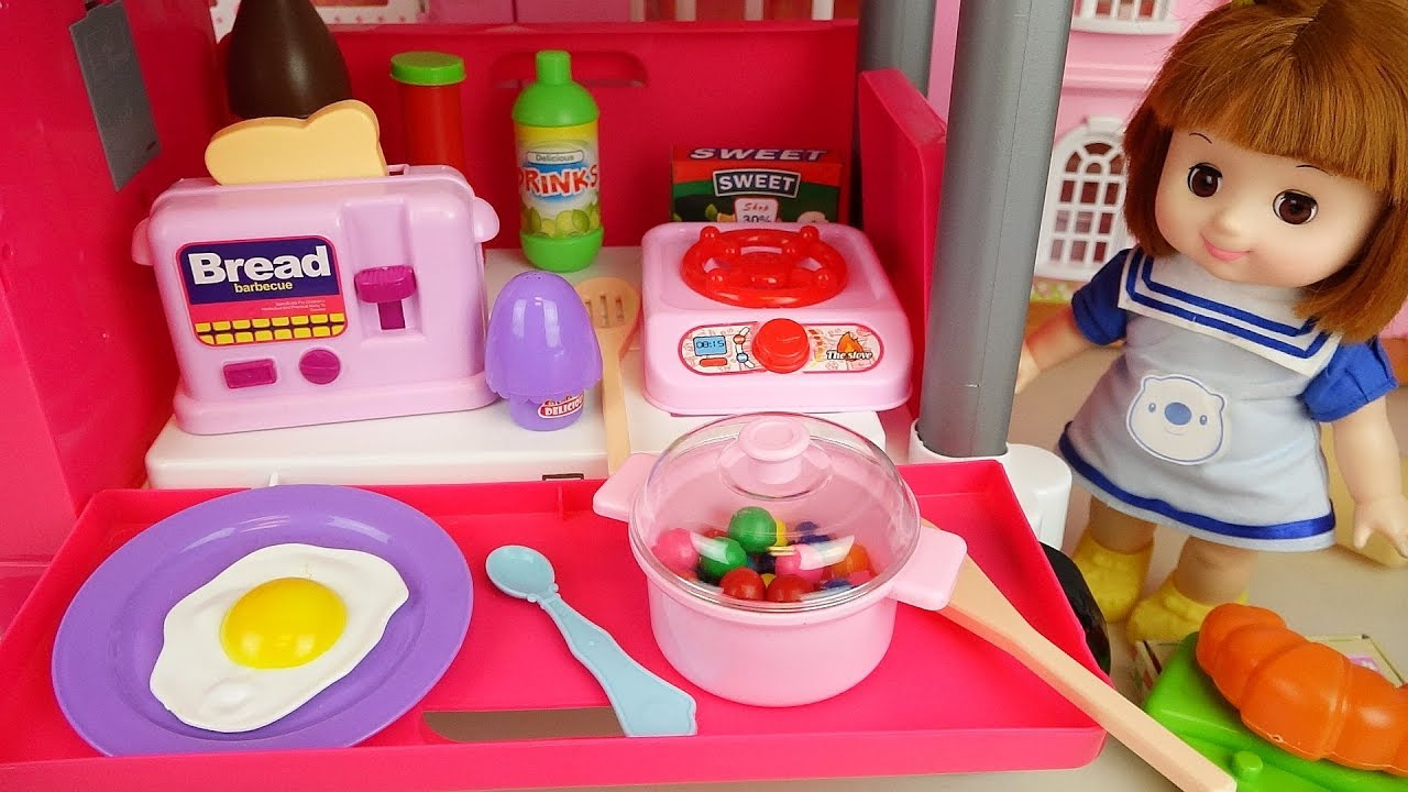 Kitchen car and baby Doll food cooking shop play Doli hosue