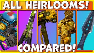 ALL APEX LEGENDS HEIRLOOMS COMPARED! - All Secrets, Rare Animations! (Caustic Aftermarket Update)