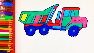 Coloring Pages Dump Truck For Kids w How to Draw Trucks Learn Colors Construction Truck by DT Kids