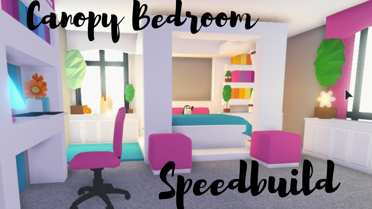 Canopy Bed With Custom Blanket Bedroom Speedbuild Roblox Adopt Me Youtube