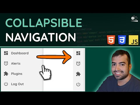 How To Create A Collapsible Navigation Menu - HTML, CSS & JavaScript Tutorial