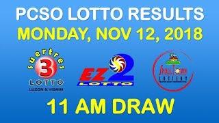 Lotto Result November 12 2018 11am Draw PCSO