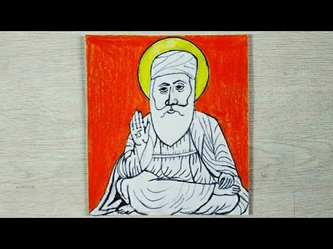 How To Draw Very Easy Colourful Shri Guru Nanak Dev Ji Drawing With Oil Pastels Step By Step