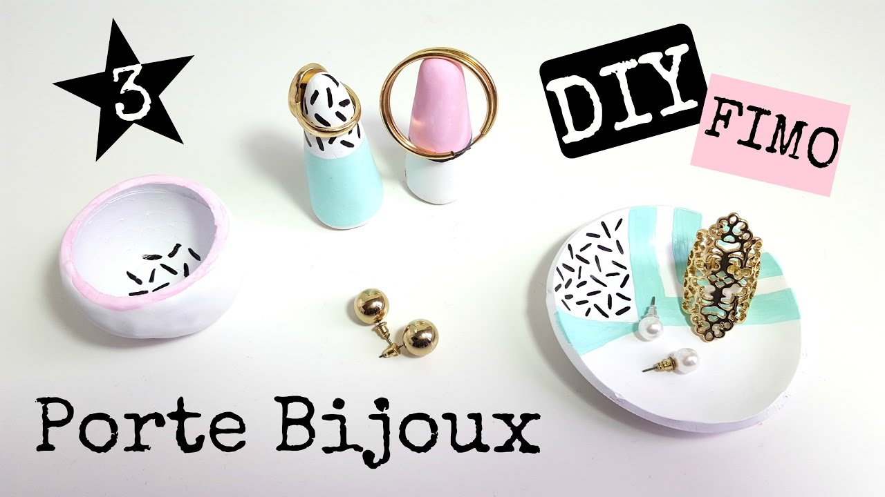 diy 3 portes bijoux en p te fimo youtube. Black Bedroom Furniture Sets. Home Design Ideas