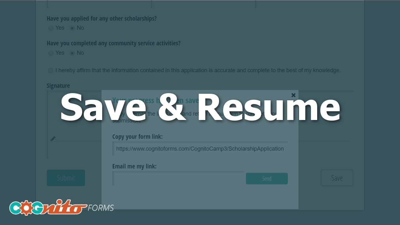 Save Resume Cognito Forms YouTube