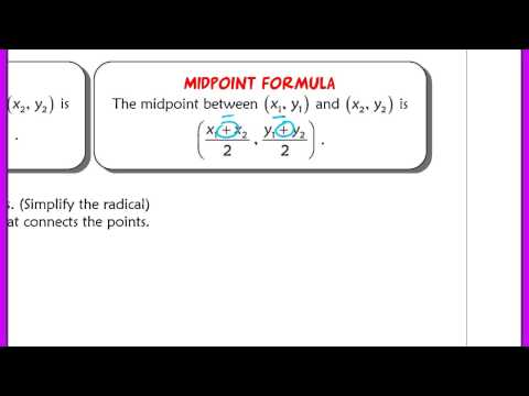 Distance and Midpoint Formula