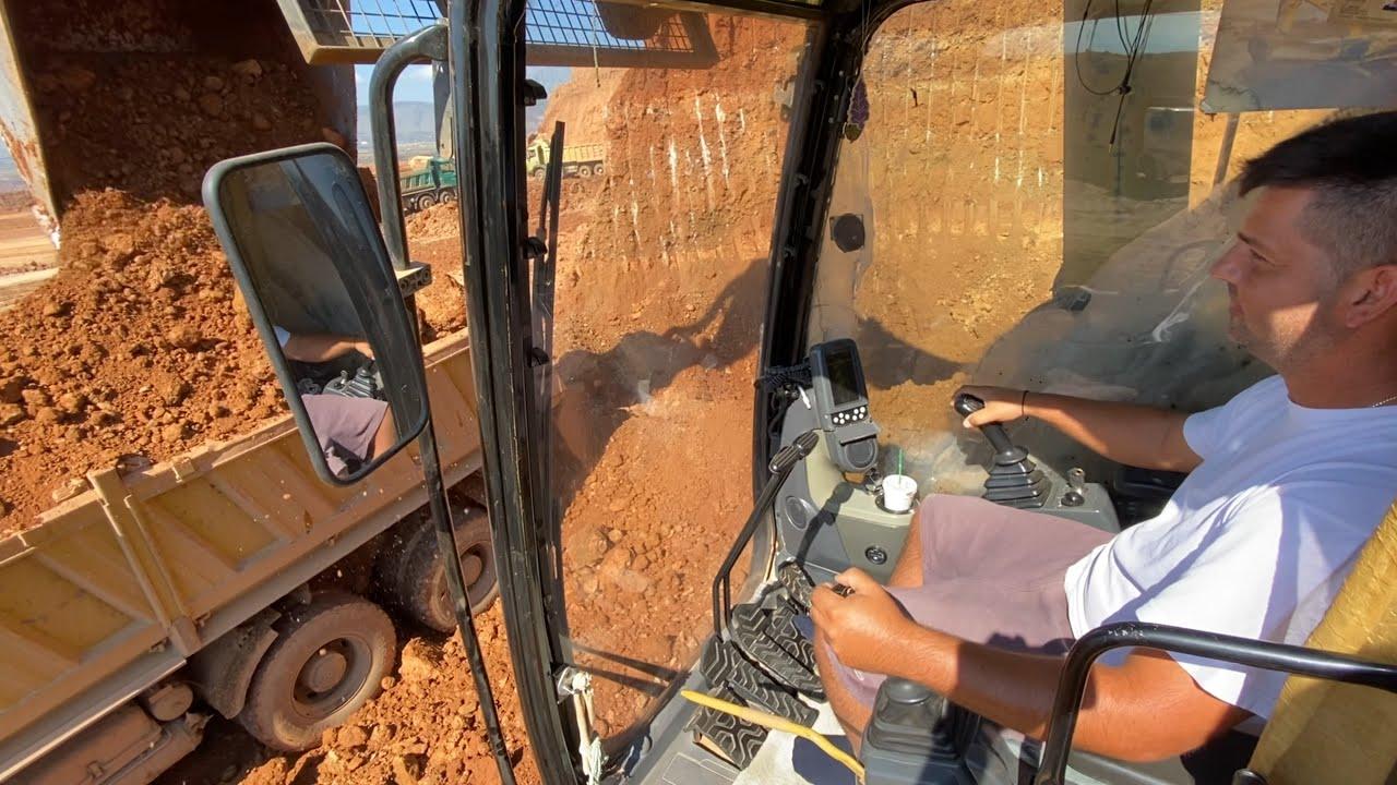 Caterpillar 365C Excavator Loading Trucks - Operator Lazaros Dragogias
