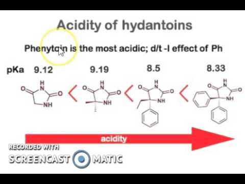 How mesomeric structure affect the acidity if barbitone and hydantoin