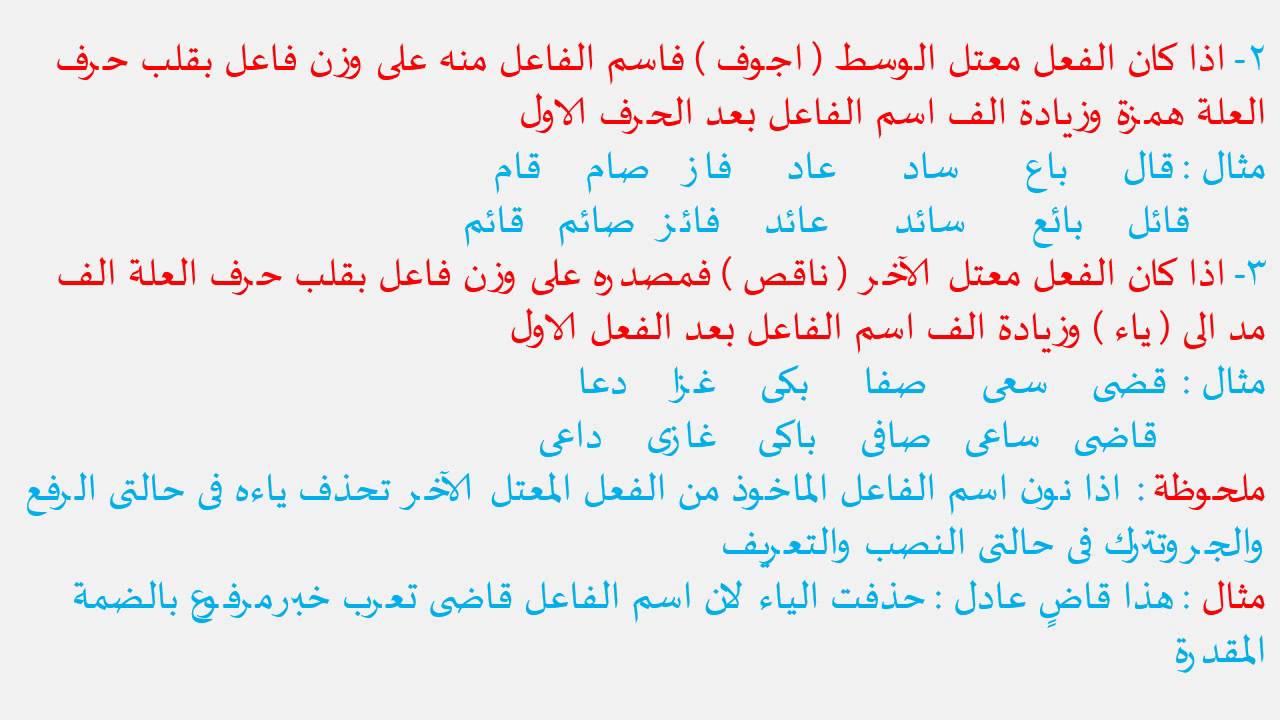 اسم الفاعل من الفعل الثلاثي الصحيح لغة عربية للصف الثالث الإعدادي موقع نفهم موقع نفهم Youtube