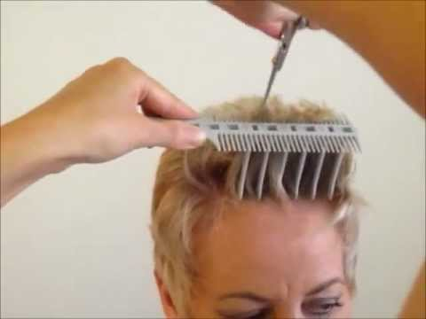 How to Cut Women's Short Hair  Layer Haircut - CombPal Scissor Over Comb Hair-Cutting tool video 6