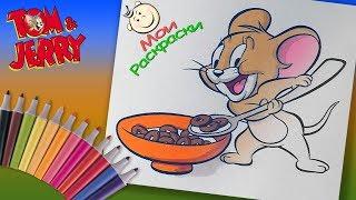 Том и Джерри #Раскраски для маленьких Раскраска Джерри Ест Завтрак Тома