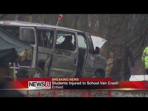 4 kids hospitalized in Enfield school van crash