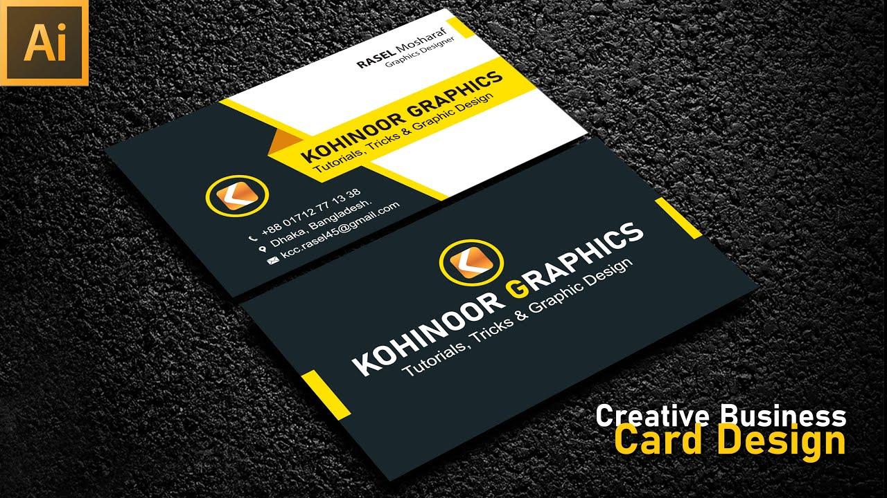 How To Make Creative Business Card Design Adobe Illustrator cc Kohinoor Graphics