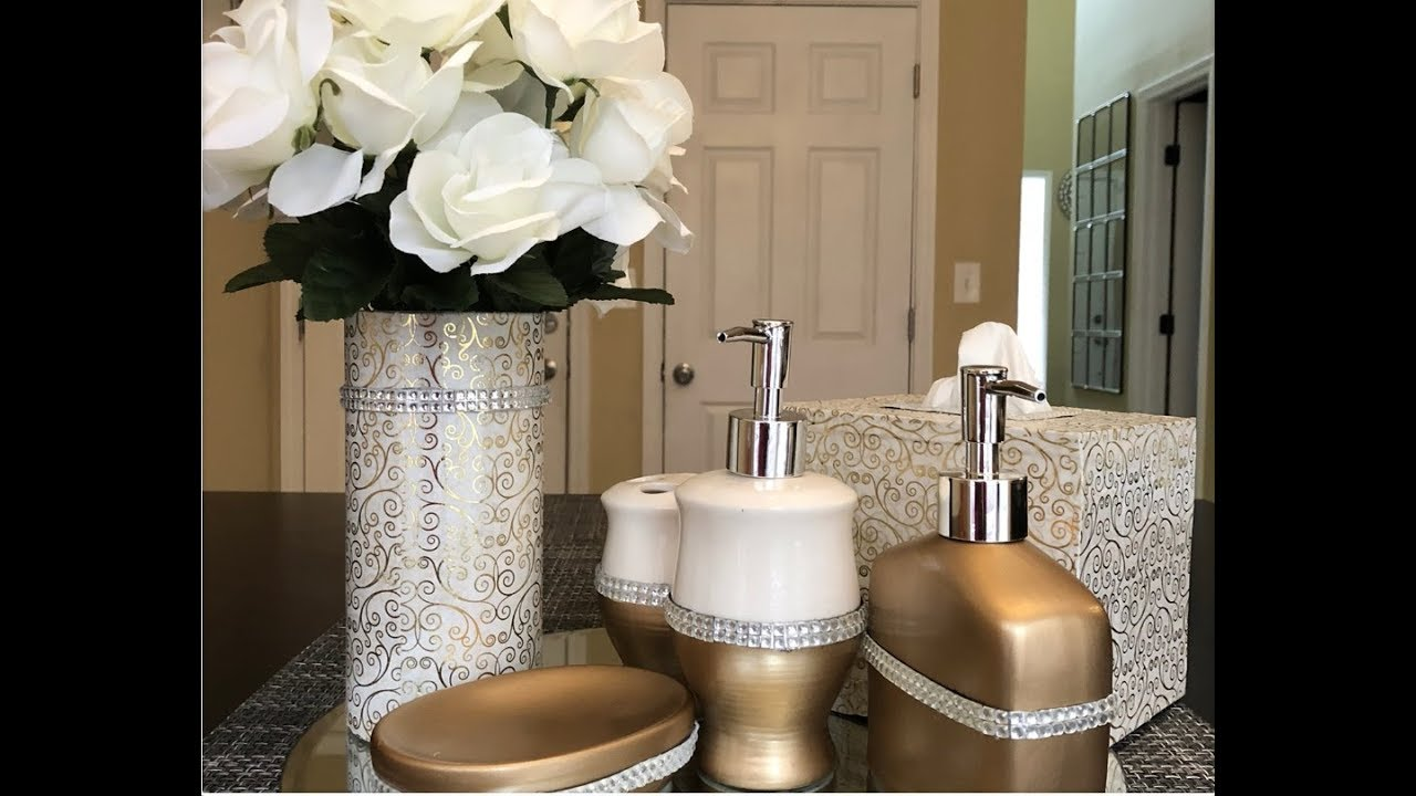 Dollar tree diy glam bathroom accessories youtube for Bathroom decor dollar tree